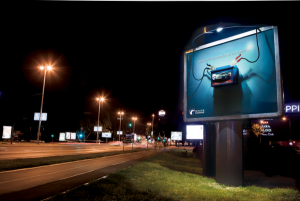 POWER OF A CAR BATTERY APPLIED ON A BILLBOARD 1
