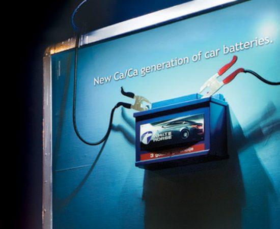 POWER OF A CAR BATTERY APPLIED ON A BILLBOARD